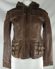 Michael Kors Women's Brown Full-Zip Hooded Faux Leather Jacket (S)