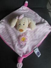 doudou plat chien rose rayé brodé fleur MGM DODO D'AMOUR