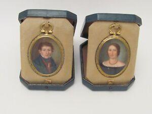 Antique Hand Painted Pair (2) Male Female Couple Cased Miniature Portrait 1850