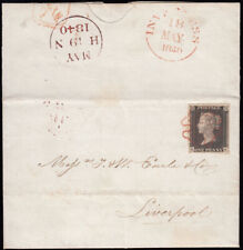 SG2 1840 1d. Black, plate 2, HK, on cover, Inverness to Liverpool.