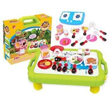 Kids Kitchen Playset, Cooking Station, 23-piece Cooking Set with 2IN1 Storage Bo
