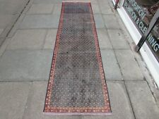 Vintage Traditional Hand Made Oriental Blue Wool Narrow Long Runner 281x75cm