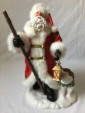 Santa Claus with Sack of Toys and Polar Bear Figurine Fabric Mache Belsnickle