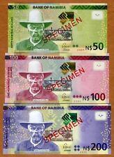 Specimen Set, Namibia, 50;100;200 Dollars, 2012, P-13s-14s-15s, UNC