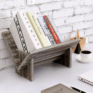 MyGift Rustic Torched Wood Tilted Desktop Decorative Storage Organizer Bookshelf