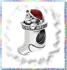 AUTHENTIC PANDORA SILVER BEAD CHARM CHRISTMAS STOCKING TEDDY BEAR 791773CZ