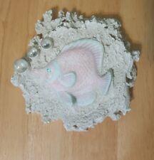 """Sand art Fish Hanging Sculpture ocean Wall Art 6"""" x 6"""""""