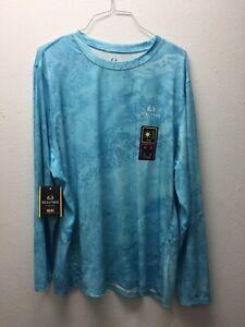 Realtree Mens Fishing 3XL Long Sleeve Shirt Cool Moisture Wicking - Light Blue