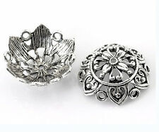 6 pieces 25X10mm Antique Silver Finish Large Fancy Flower Beads Caps-899p