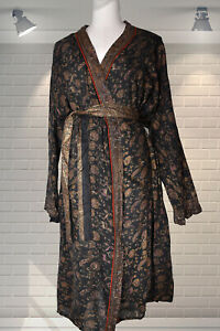 Fine Floaty Gauzy Cotton Indian Gold Block Printed Dressing Gown - Medium Large