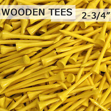 "500 pcs 2 3/4"" 70MM LONG LENGTH YELLOW NEW GOLF NATURAL WOOD TEES TEE PGA"