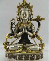 Tibet Tibetan Buddhism Silver Bodhisattva Four arm Kwan Yin Buddha Statue
