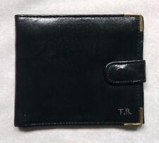 Wallet Vintage Leather BLACK BI-FOLD CARDS NOTES 1980s 1990s