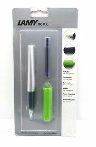 Lamy (L'Amy) Nexx Fountain Pen (Blue Ink) - SILVER/GREEN
