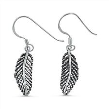 Solid Leaf Dangle .925 Sterling Silver Earrings