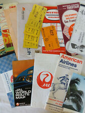Airline Ticket Lot TWA Indian Western Japan JAL American Timetable Baggage Stubs