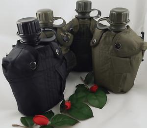 Feldflasche,Trinkflasche,Army,BW,Nylonbezug,Schwarz,Flecktarn,Oliv,Woodland