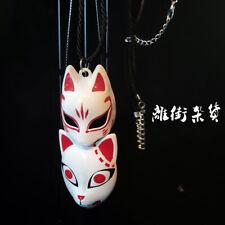 Japan Fox Kamado Tanjirou Jing rabbit Mask Necklace Pendant Keychain Key Ring