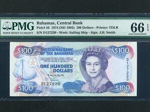 Bahamas:P-56,100 Dollars,1992 * Queen Elizabeth II * PMG Gem UNC 66 EPQ *