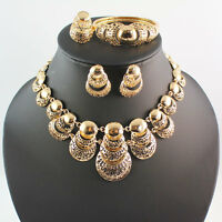 Women 18K Gold Plated Africa Dubai Wedding Party Multilayer Necklace Jewelry Set