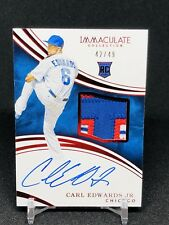 2016 Immaculate Carl Edwards JR Auto SICK Patch RC SP /49 Chicago Cubs