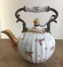 Antique Floral & Gold Teapot Metal and Porcelain Handle
