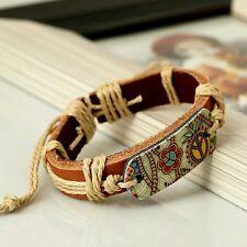 Fashion Hot Jewelry Print Flower Peace Symbol Alloy Leather Bracelet Women
