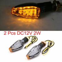 2Pcs Plastic Metal Motorcycle Yellow 14 LED Turn Signal Indicator Light 12V 2W