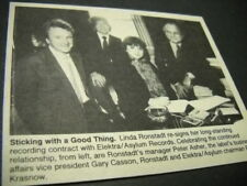 LINDA RONSTADT w/ Peter Asher and others Original 1985 music biz promo pic/text