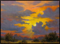 Jeff Love Original Oil Painting Phoenix Tucson Sunset Arizona Bright Rain Clouds