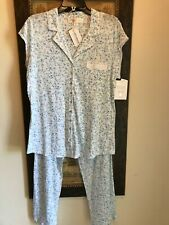 Eileen West womens 2pc multi blue floral cotton modal pocket pajamas M NWT $68