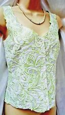 MINUET Beautiful  Linen Blend Applique Blouse White & Lime Size 8