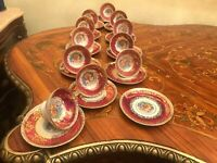 Rare 11 Cups 12 Saucers German Bavaria Rococo Porcelain Handpaited Coffee Set
