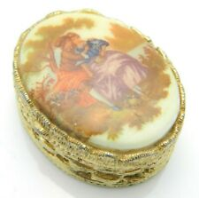 Hand Painted Pill Box Lovers in the Garden Porcelain Brass Victorian Vintage