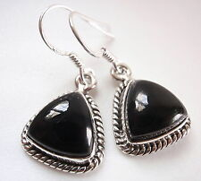 Black Onyx Triangles 925 Sterling Silver Dangle Earrings w/ Rope Style Accents