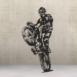 Crosser Bike Wandtattoo Motorcross Motorrad Wandbild Kleber Wandfolie 58 x122 cm