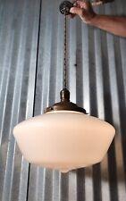 Antique Authentic Art Deco White Milk Glass School House Ceiling Light Fixture