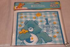 NEW   CARE BEARS 1ST BIRTHDAY BOY 8 LOOT BAGS  PARTY SUPPLIES