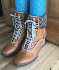 CHLOE Authentic Wedge Lace Up Boots Booties Tan Brown 38=US 7.5/8