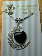 """BLACK ONYX GEMSTONE  """"LOVE YOU TO THE MOON AND BACK"""" NECKLACE"""