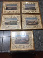 Vtg 1967 Framed Art Prints Set 5 Steinmann Del Salathe S Trans Pacific Vistas