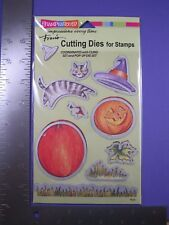 STAMPENDOUS CUTTING DIES - CREATE FALL (CAT, PUMPKIN, WITCH'S HAT, LEAF, GRASS)