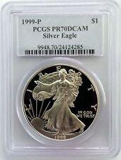 1999 P American Silver Eagle PCGS PR70DCAM $1 Proof Coin PR70 PF70 Lot# BK 44