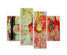 "LARGE CANVAS PRINTS RED ABSTRACT WALL ART 4 PANEL 35""(90cm) XXL PICTURES PHOTOS"