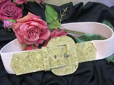 Classic CHARMANT Beverly Hills stretch BELT pink LINEN elastic CORK buckle 24-29