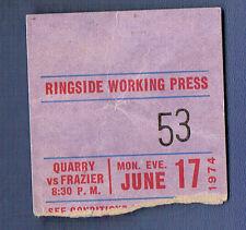 Boxing Ticket Stub Joe Frazier vs. Jerry Quary June 17,1974  RARE Original