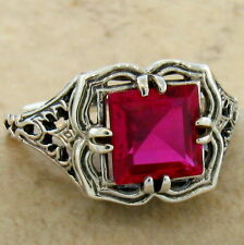 RED LAB RUBY ANTIQUE FILIGREE DESIGN 925 STERLING SILVER RING SZ 4.75, #674