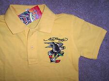 NWT Ed Hardy Boy $53 Gold Yellow Polo Golf Shirt FLYING EAGLE L/12 Cotton ANCHOR