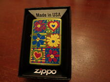 FUNKY FLOWERS HEARTS ZIPPO LIGHTER MINT IN BOX