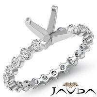 Asscher Shape Semi Mount Diamond Engagement Bar Setting Ring Platinum 950 0.4Ct